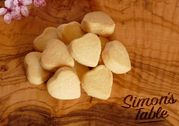 Simon's Shortbread hearts on Simon's Table board