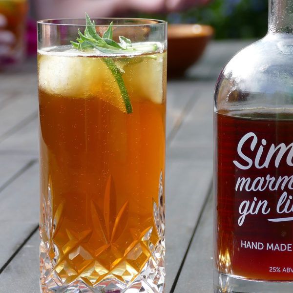 Simon's Marmalade Gin Liqueur from Simon's Table, Norfolk - enjoyed in the sunny weather